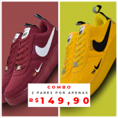 Combo de Tênis Air Force 1 Amarelo + Bordo