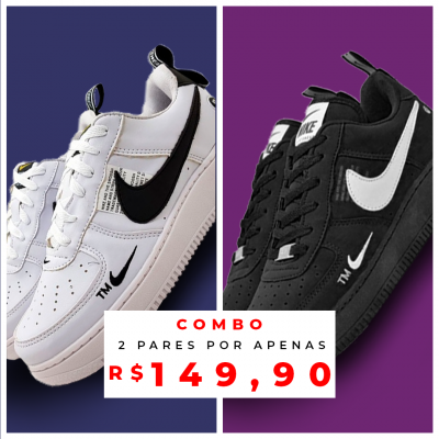 Combo de Tênis Air Force 1 Branco + Preto